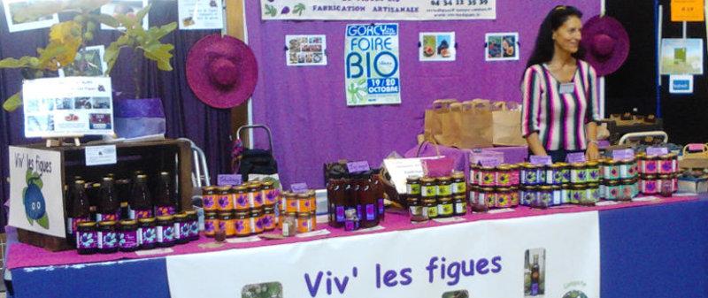 une des formes possibles du stand Viv'les figues à un salon bio